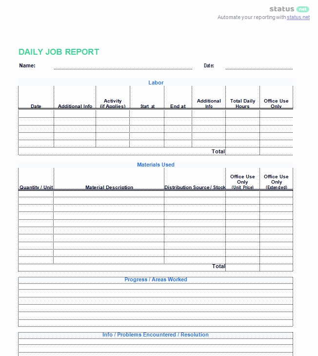 3 Best Examples Daily Report Template