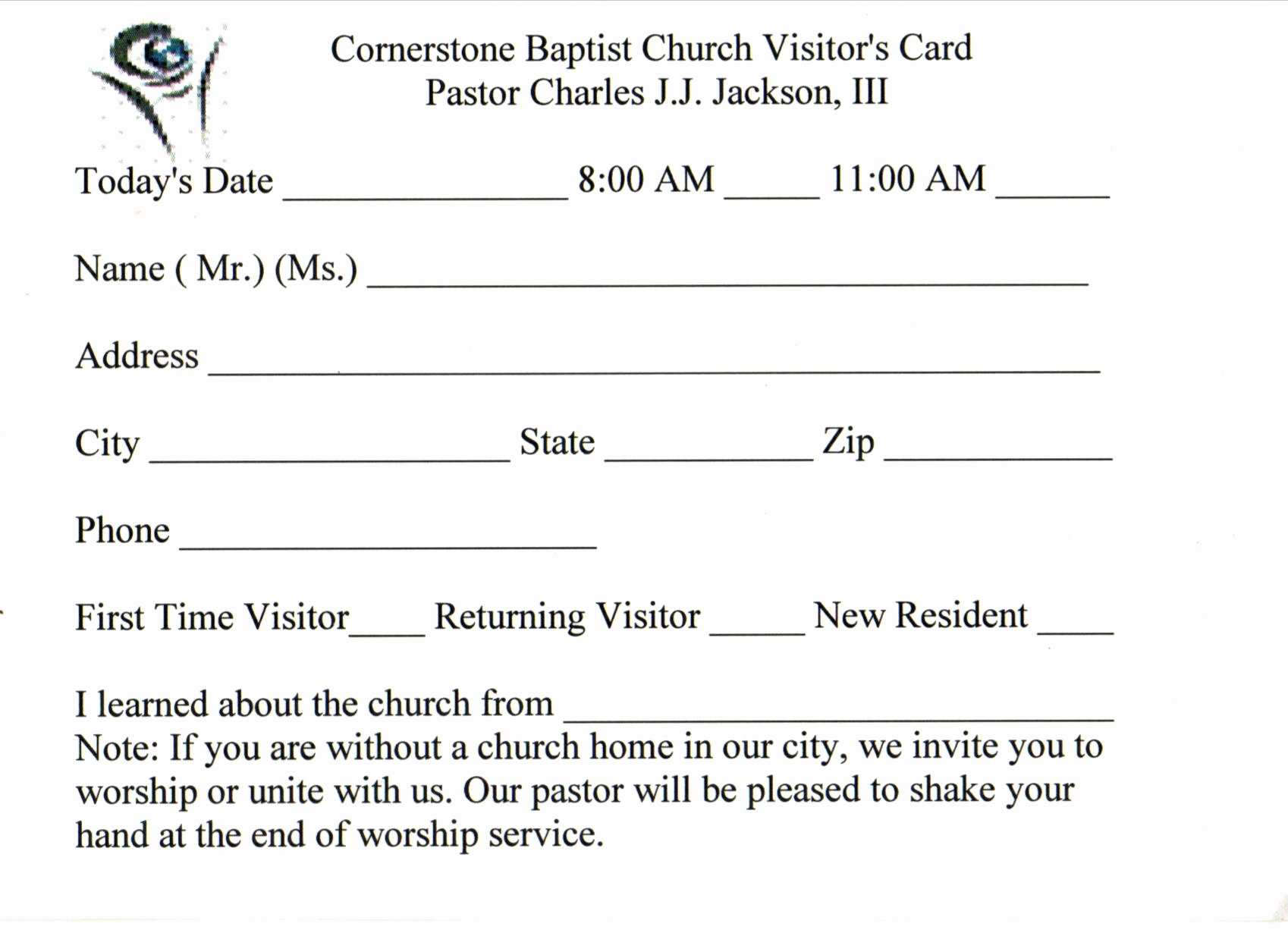 3 Best Of Church Visitor Card Template Church