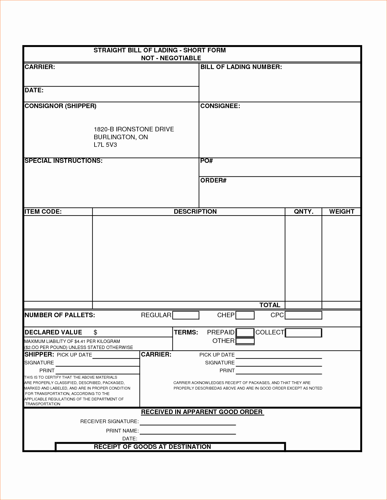 3 Bill Of Lading formreport Template Document