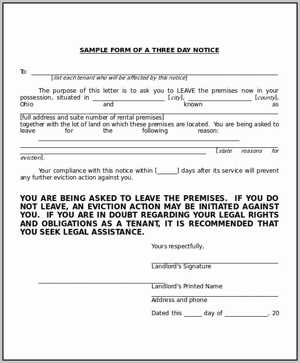 3 Day Eviction Notice Template Florida Template Resume