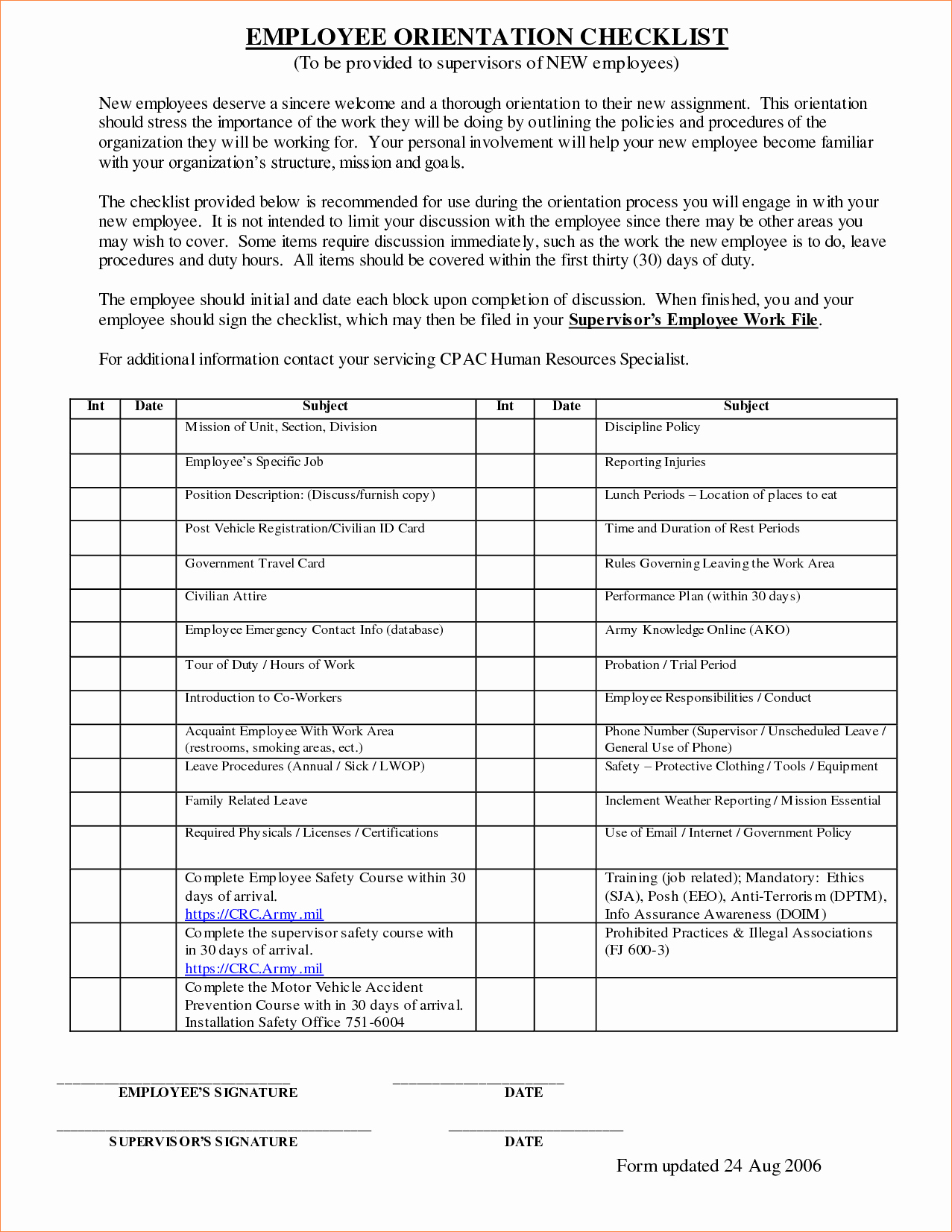 3 Employee orientation Checklist