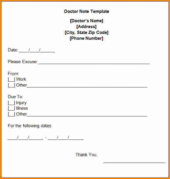 3 Fake Doctors Note Template Pdf