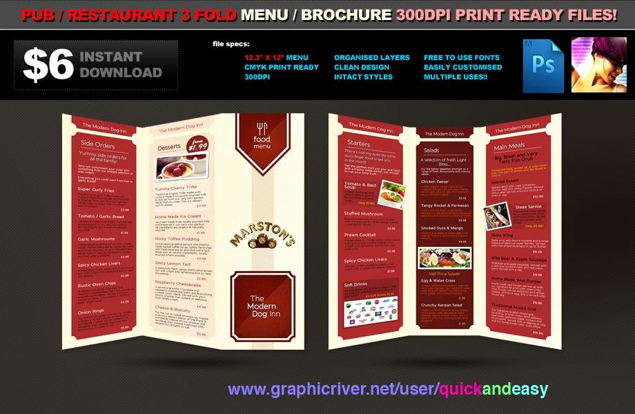 3 Fold Pub Food Menu Brochure Template ‹ Psdbucket