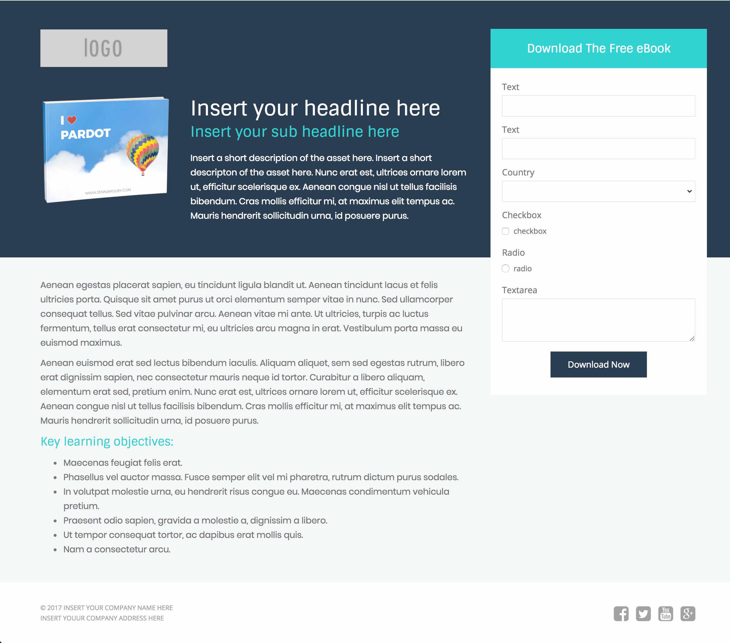 3 Free Pardot Landing Page Templates for asset Downloads