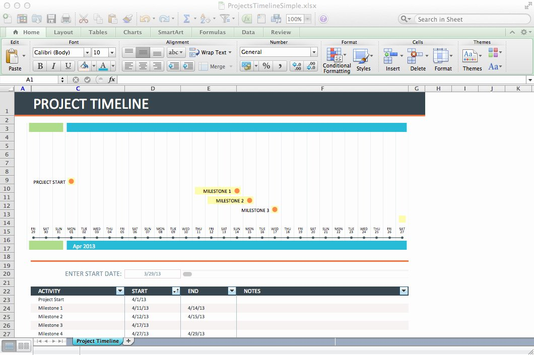 3 Free Project Timeline Templates Excel Excel Xlts