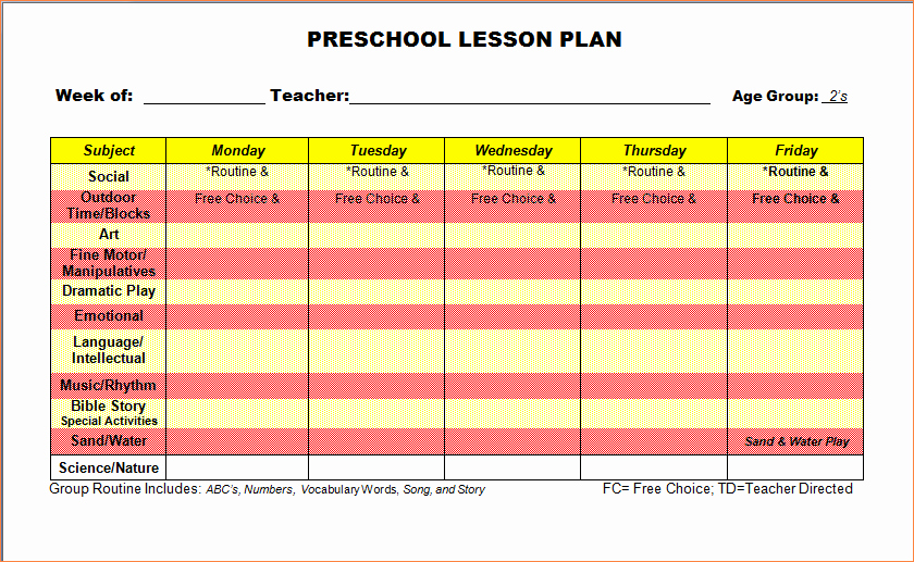 3 Lesson Plan Template Preschoolreport Template Document