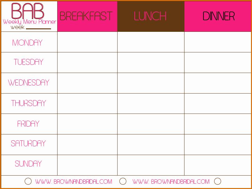 3 meal calendar template