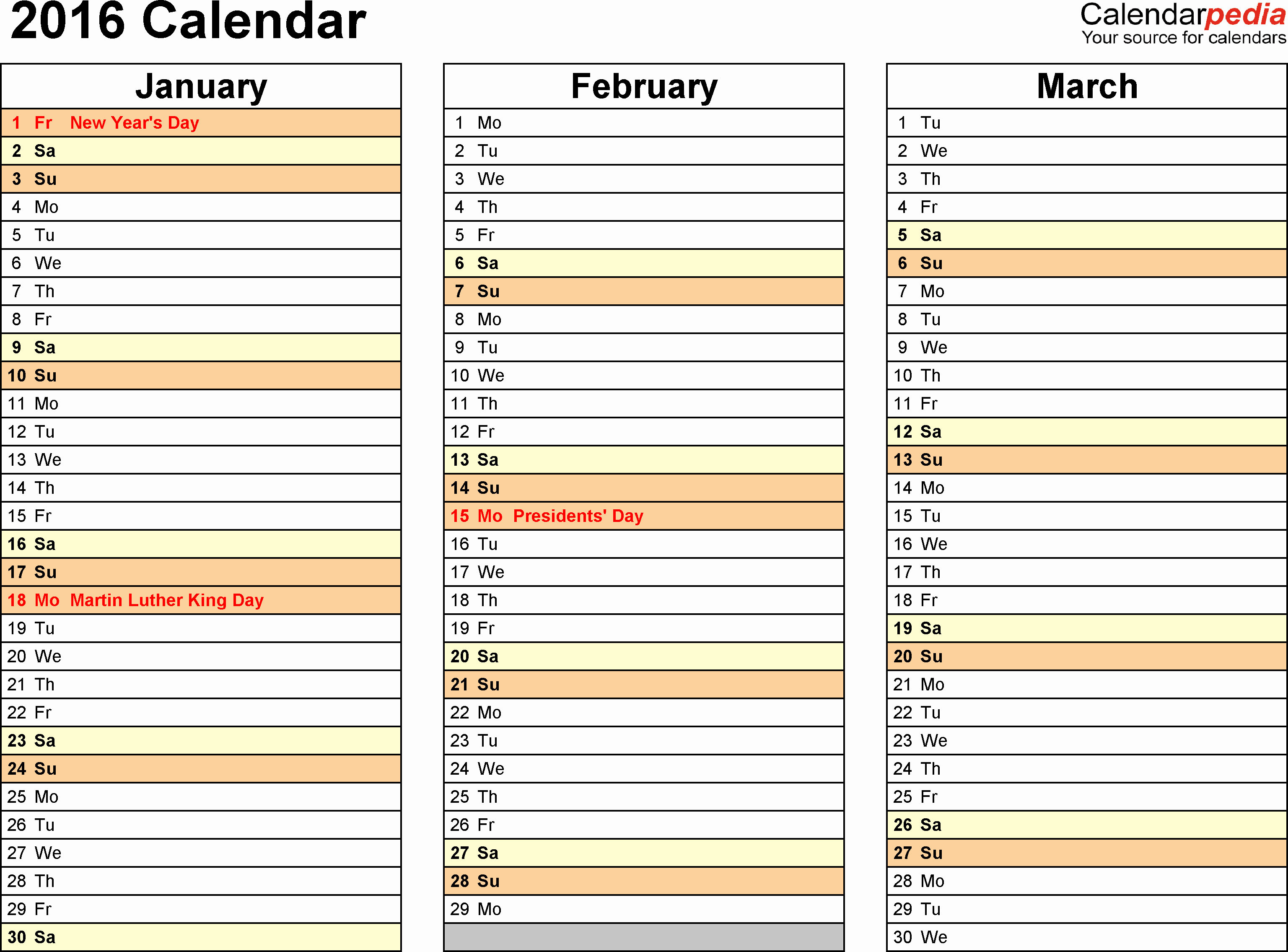 3 Month 2016 Calendar Printable Free for Word