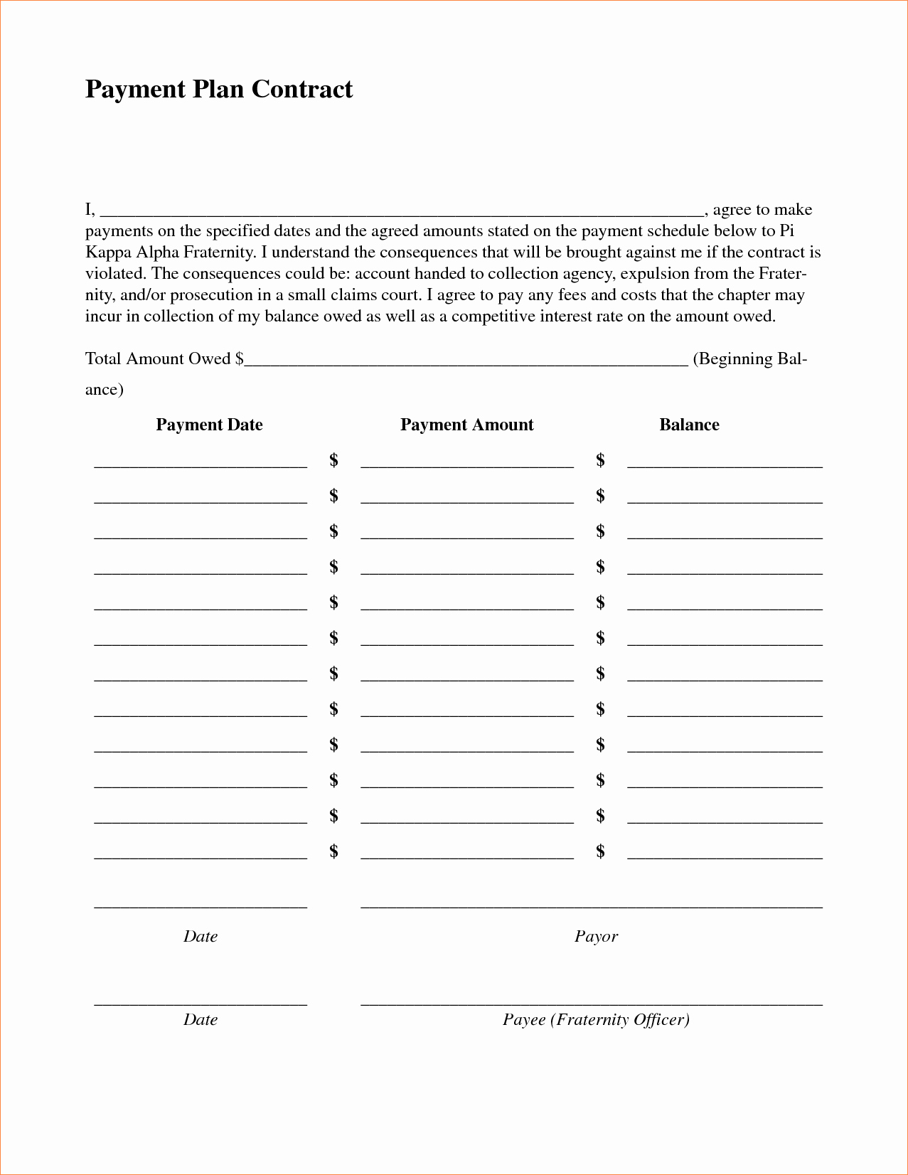 3 Payment Plan Contractreport Template Document