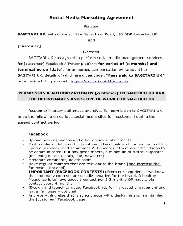 3 social Media Marketing Contract Pdf