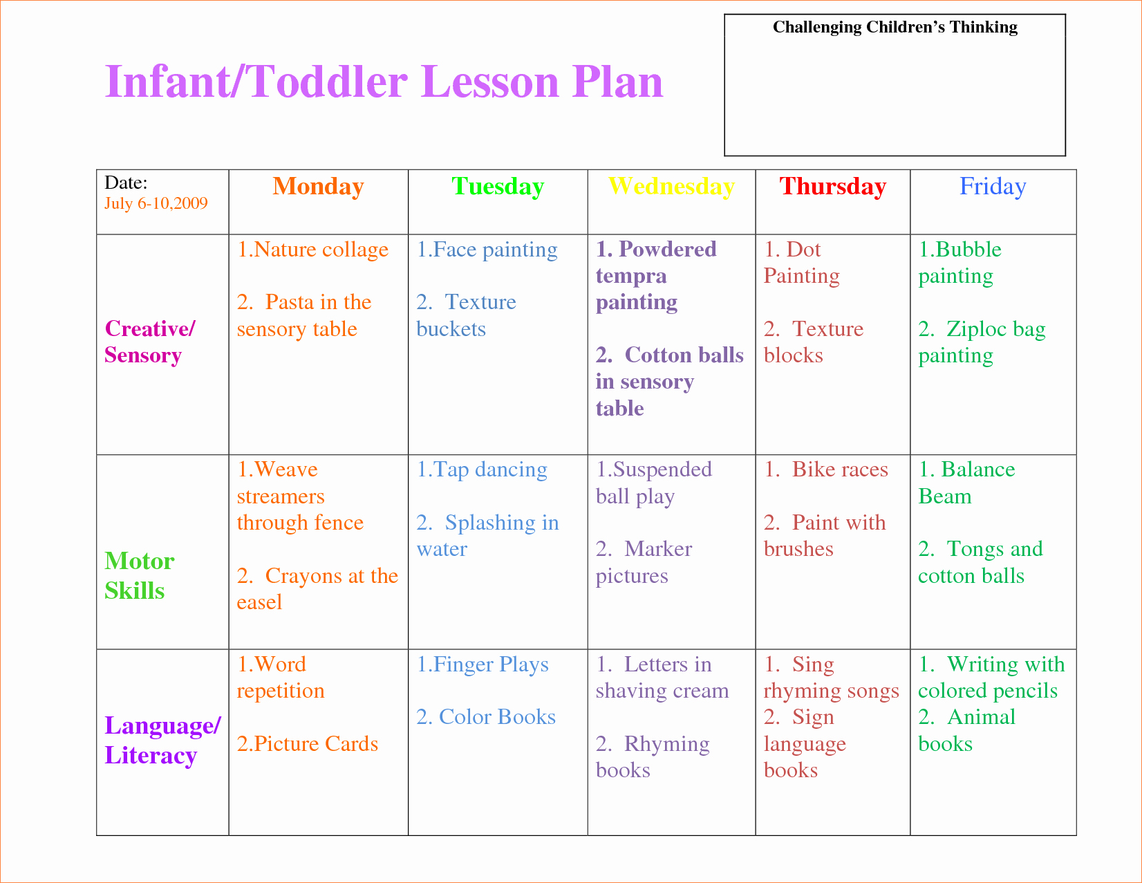 3 toddler Lesson Plan Templatereport Template Document