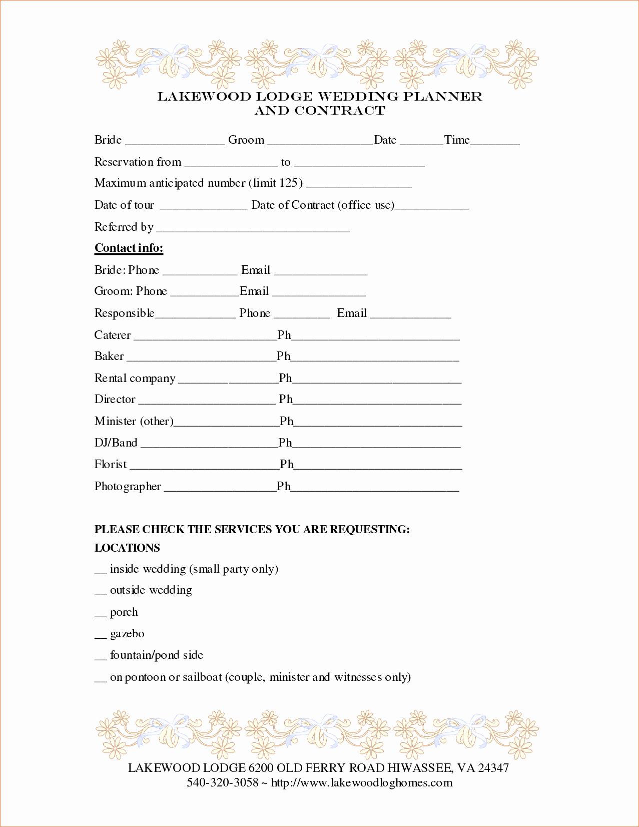 3 Wedding Contract Templatereport Template Document