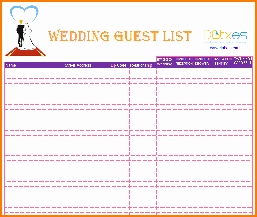 3 Wedding Guest List Printable