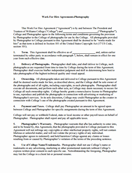 3 Work for Hire Agreement Templates Pdf