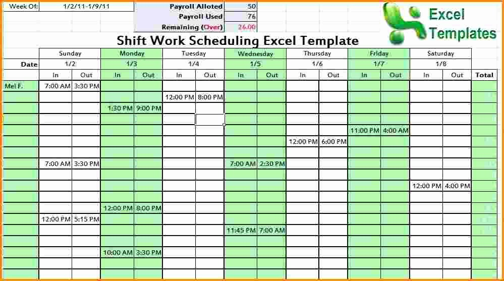 3 Work Schedule Template Excel