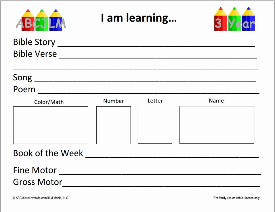 3 Year Old Lesson Plan Template