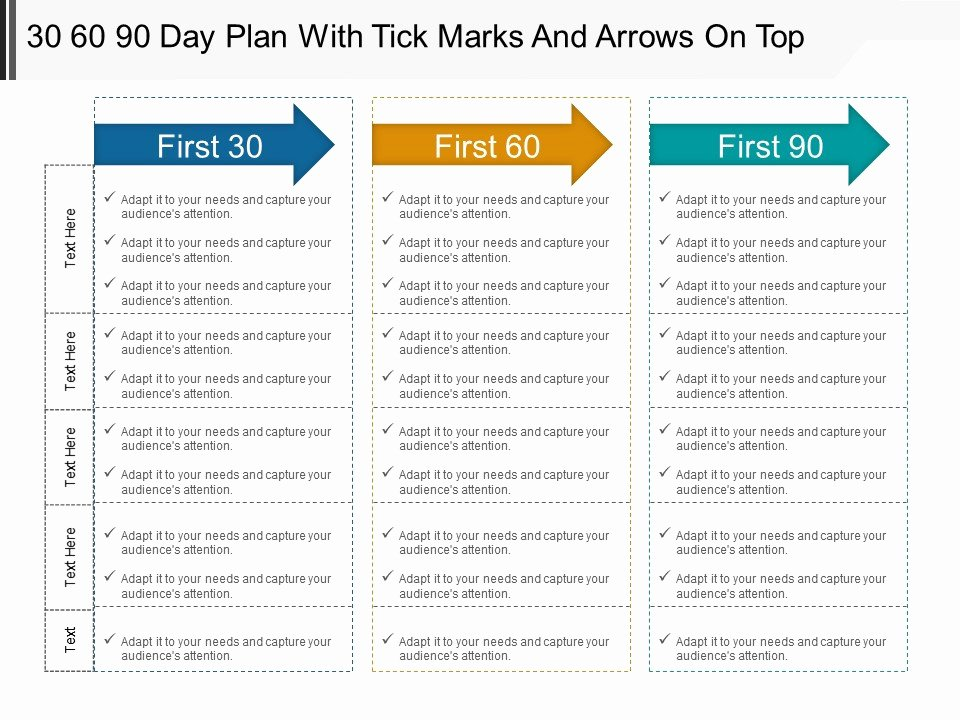 30 60 90 Day Plan with Tick Marks and Arrows top