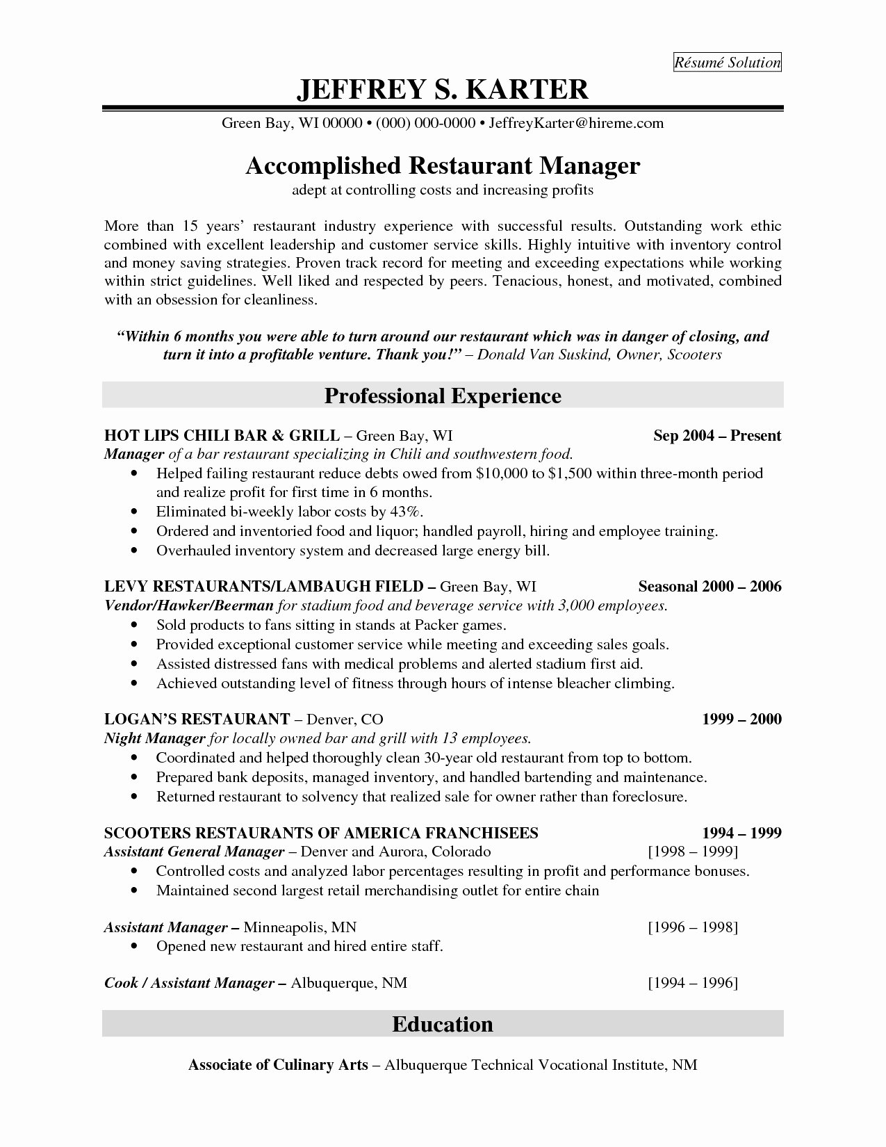 30 Awesome Graph Resume for Fast Food Restaurant