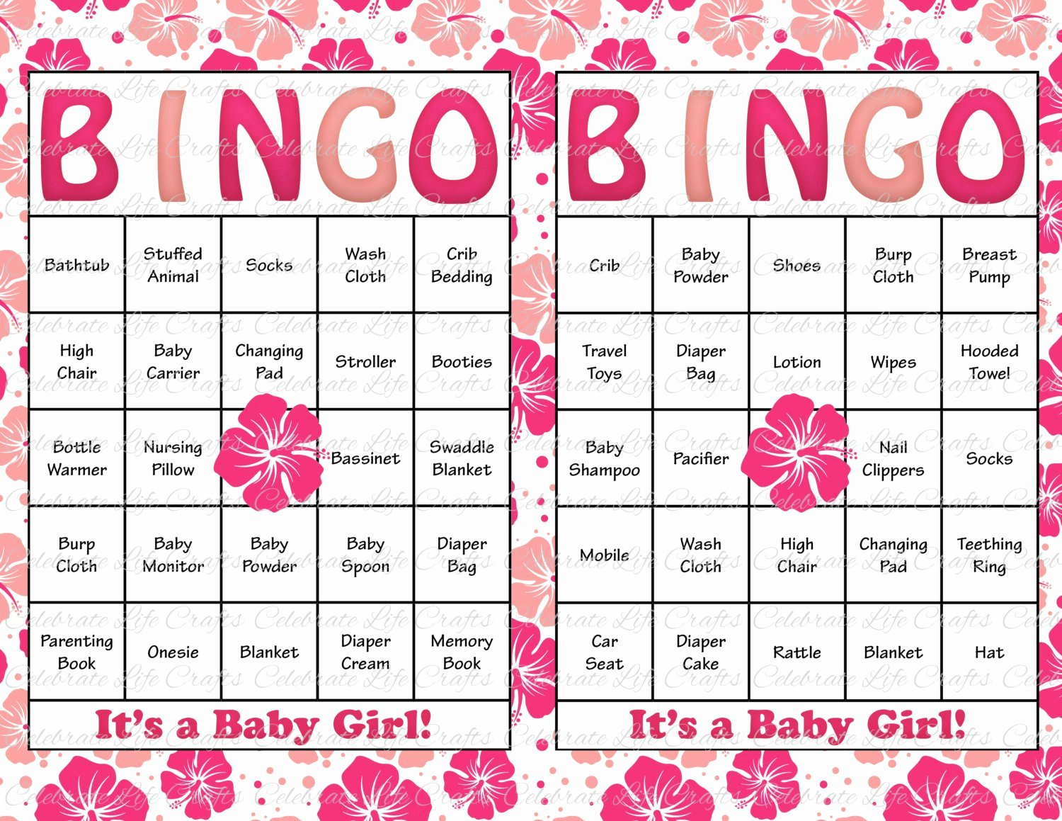 30 Baby Shower Bingo Cards Printable Party Baby Girl