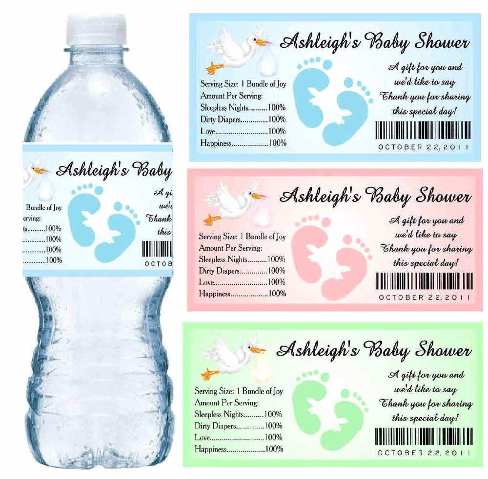 30 Baby Shower Water Bottle Labels Glossy Waterproof