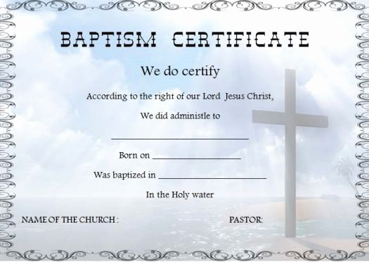 30 Baptism Certificate Templates Free Samples Word