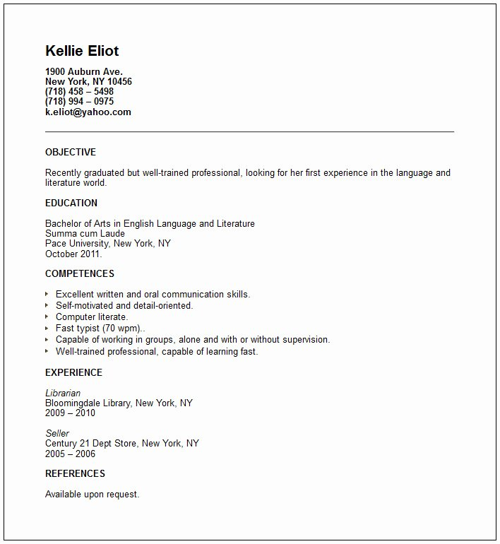 30 Beautiful Recent College Graduate Resume Examples
