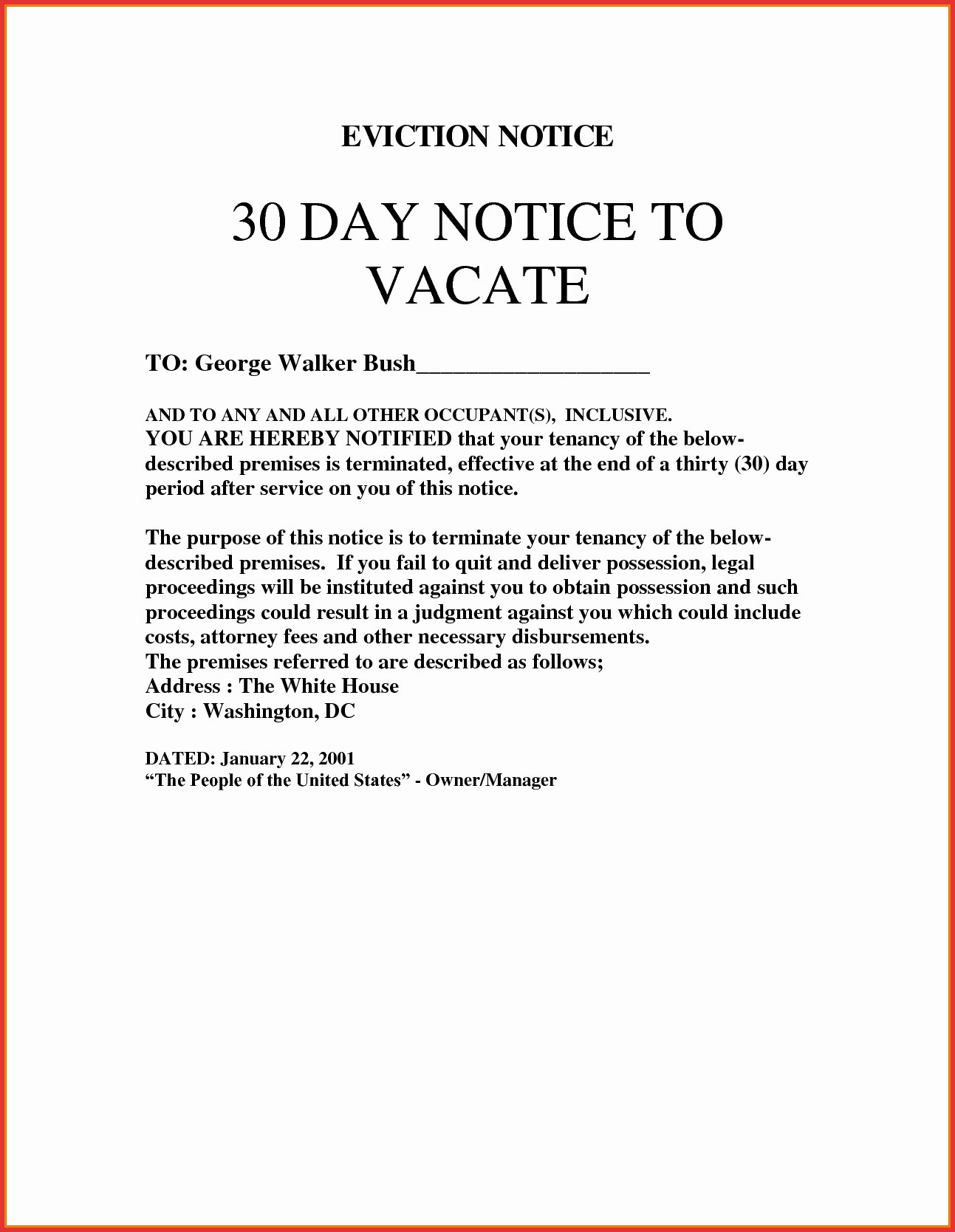 30 day eviction letter template