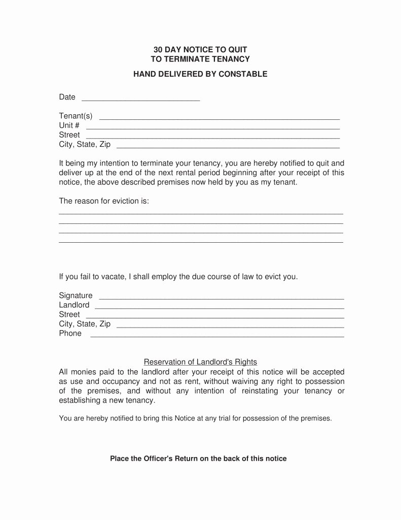 30 Day Eviction Notice Template Nc Templates Resume