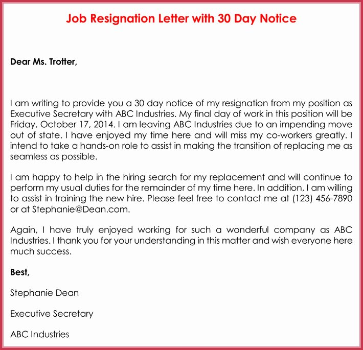 30 Day Notice Letter Templates 12 Samples In Word & Pdf