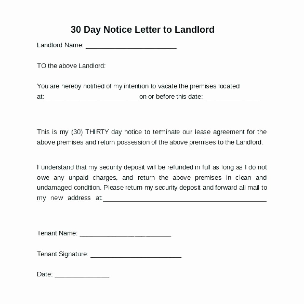 30 Day Notice to Landlord California Template Free