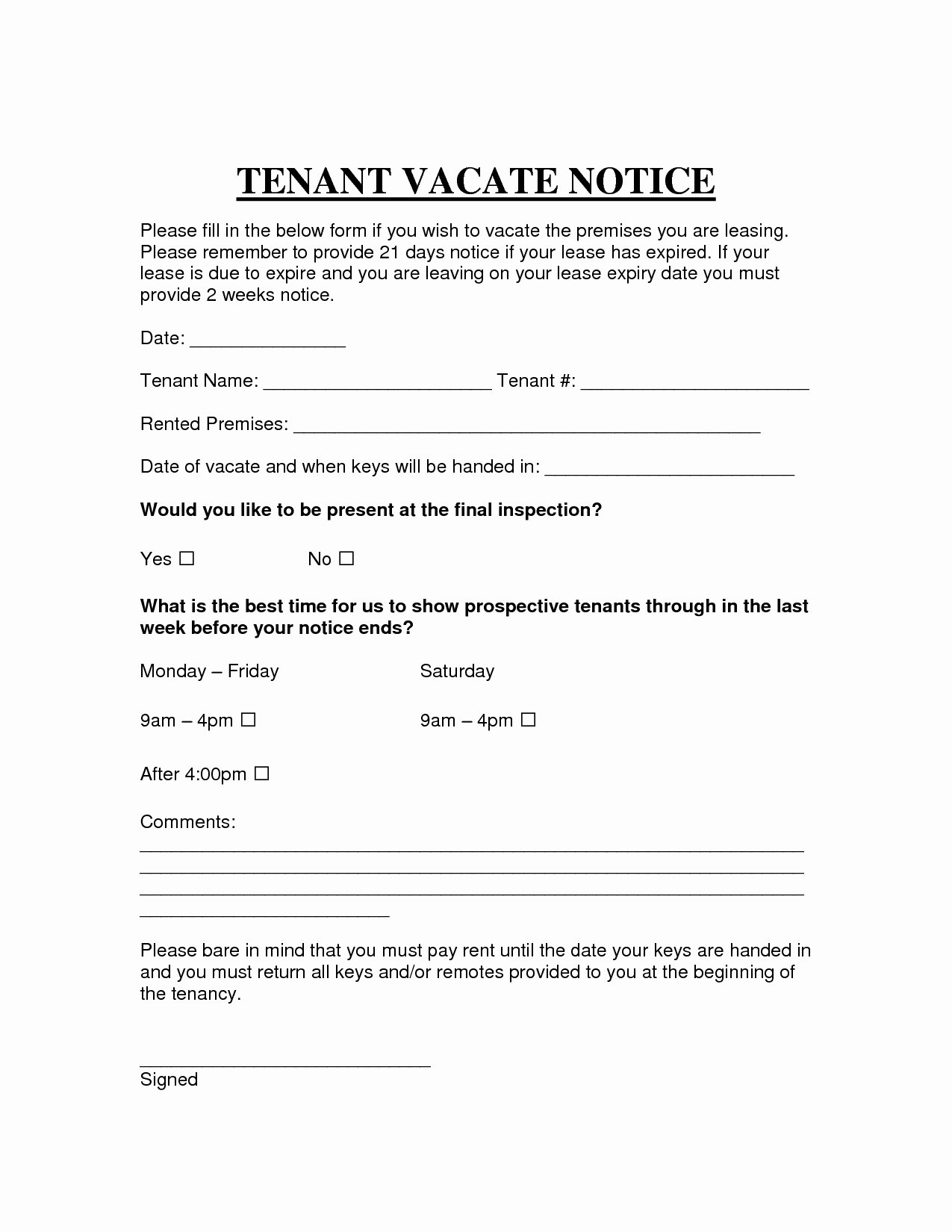 30 Day Notice to Vacate Letter to Tenant Template Sample