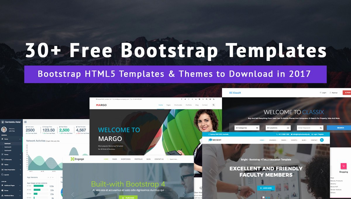 30 Free Bootstrap Templates & themes to Download In 2017