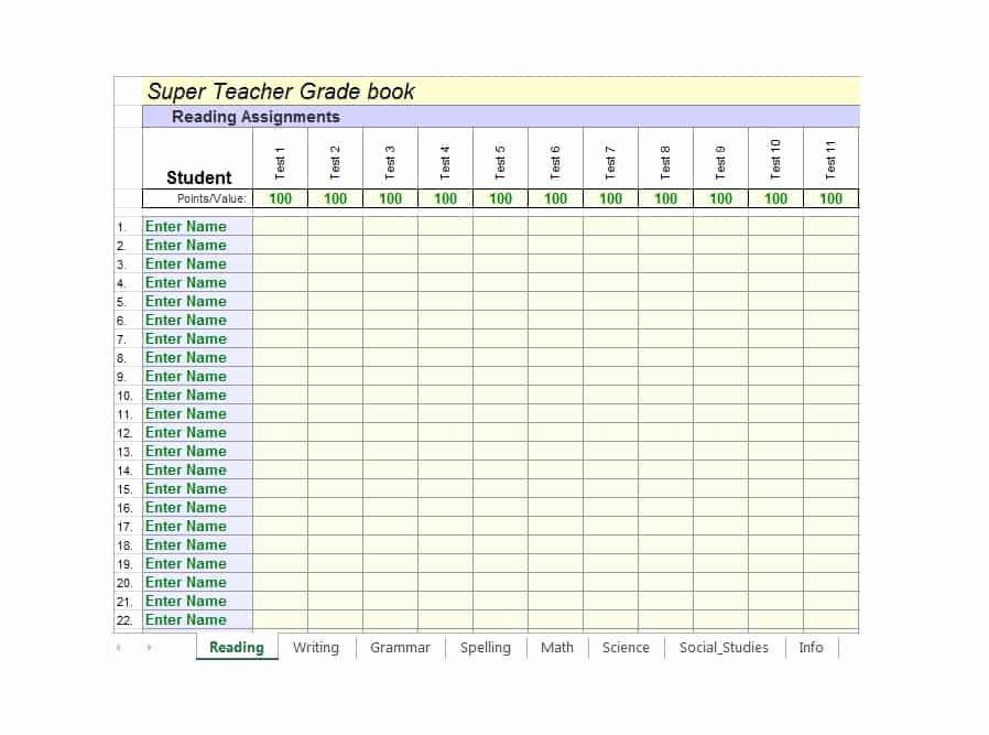 30 Free Gradebook Templates Template Archive