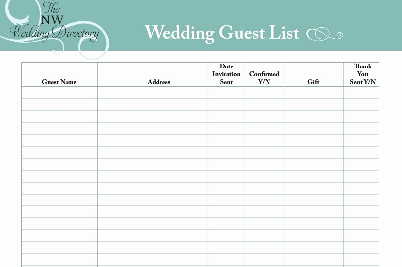 30 free wedding guest list templates 1175