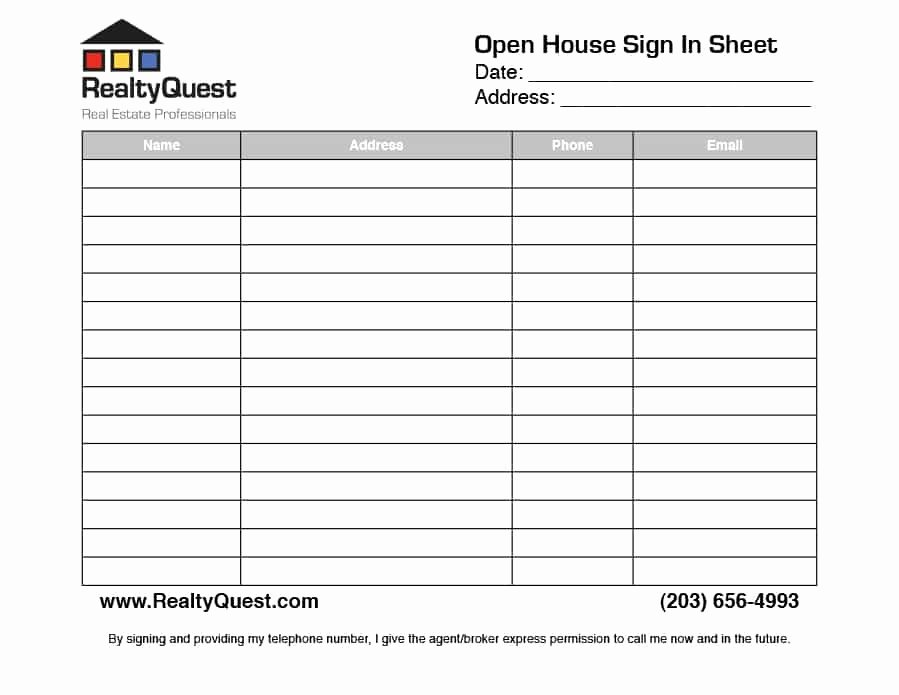30 Open House Sign In Sheet [pdf Word Excel] for Real