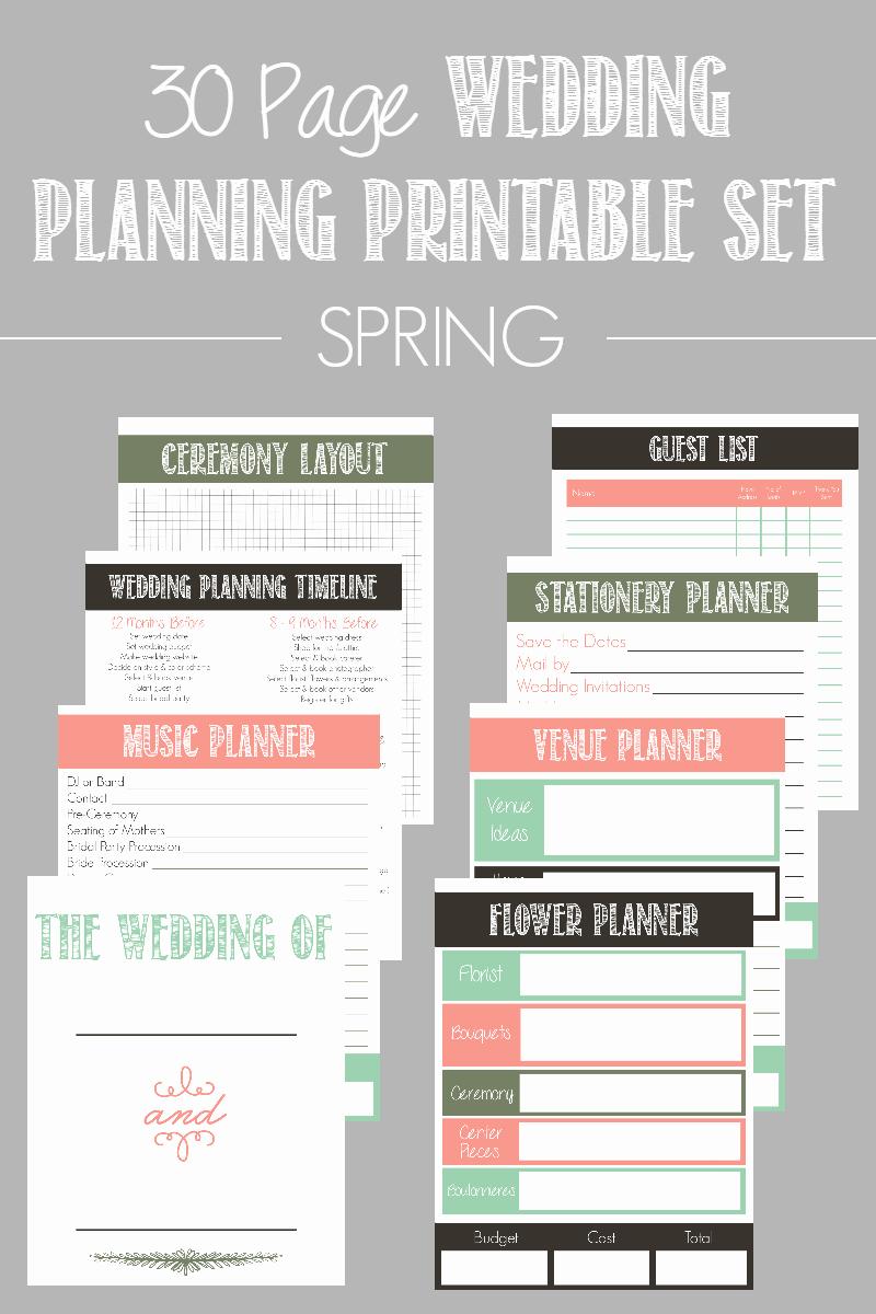 30 Page Wedding Planning Printable Set Bread Booze Bacon