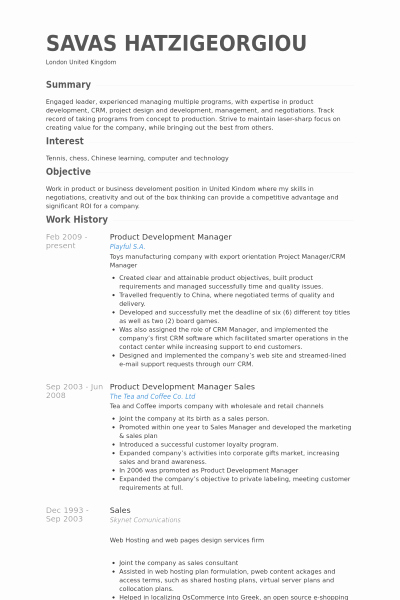 30 Product Development Resume Sample Product Development