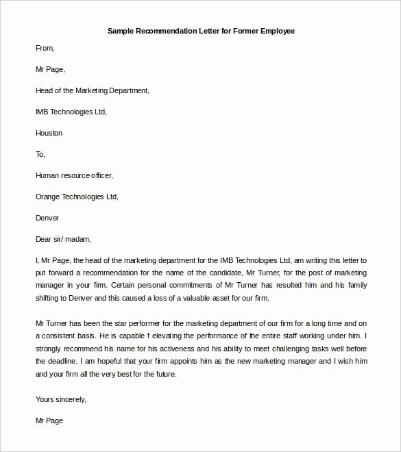 30 Re Mendation Letter Templates Pdf Doc