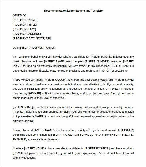 30 Re Mendation Letter Templates Pdf Doc