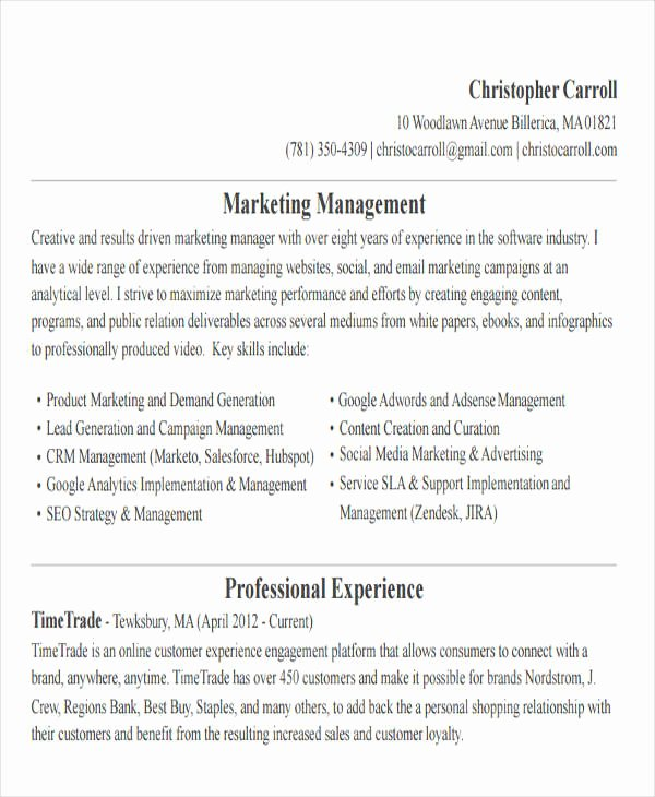 30 Simple Marketing Resume Templates Pdf Doc