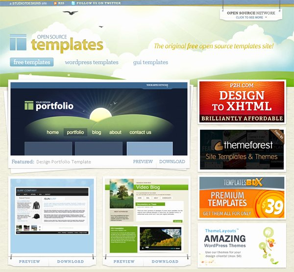 30 sites that offer free website templates and free flash templates