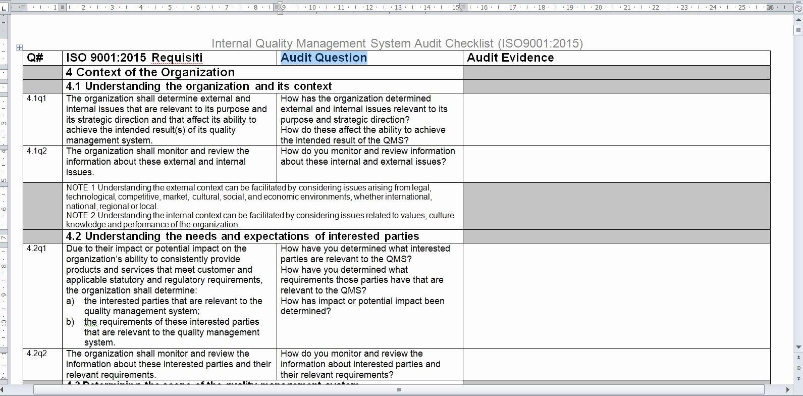 Internal Audit Checklist Template Excel Ex Google Doc