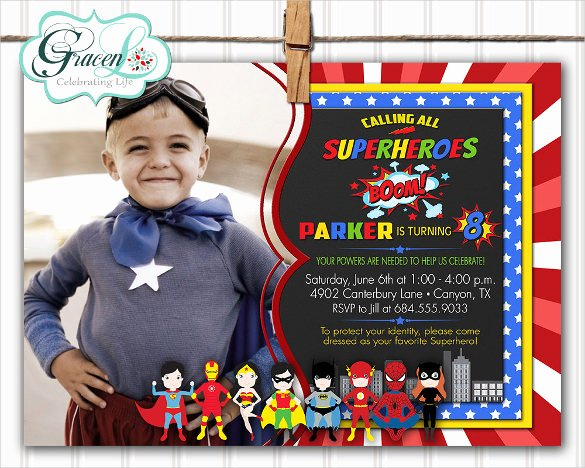 30 Superhero Birthday Invitation Templates Psd Ai
