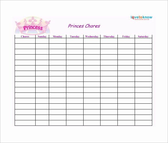 30 Weekly Chore Chart Templates Doc Excel