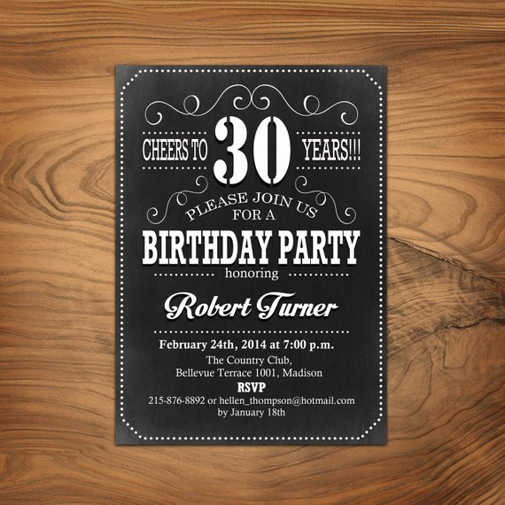 30th Birthday Invitation 40th 50th 60th Any Age