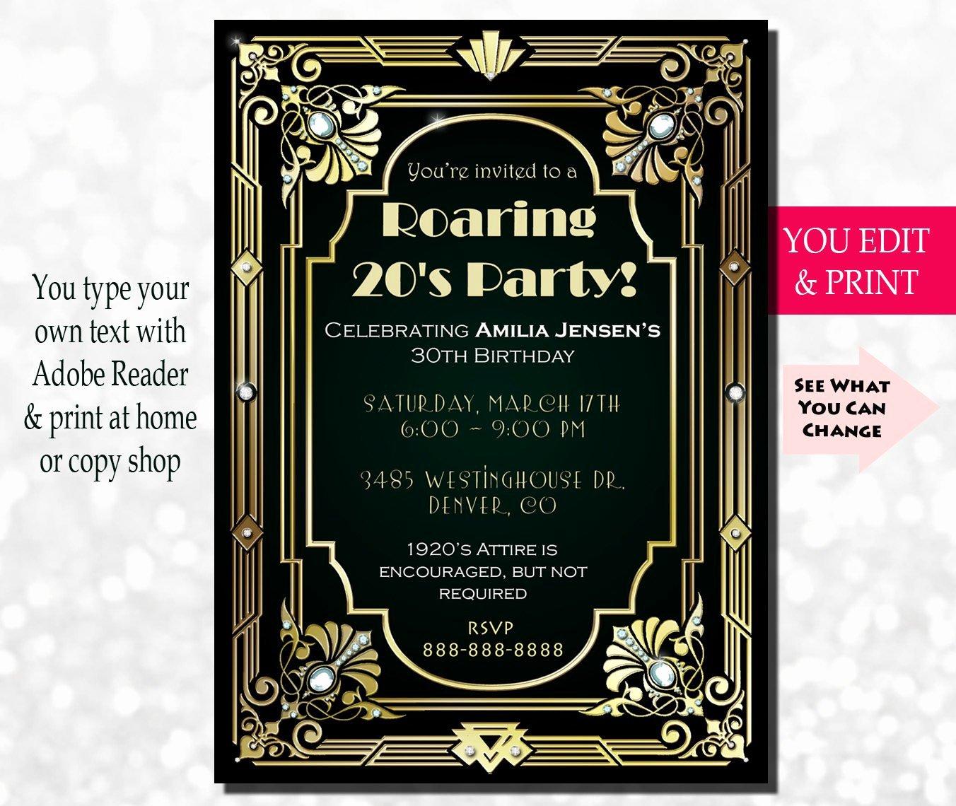30th Birthday Invitation Gatsby Invitation Gatsby Birthday
