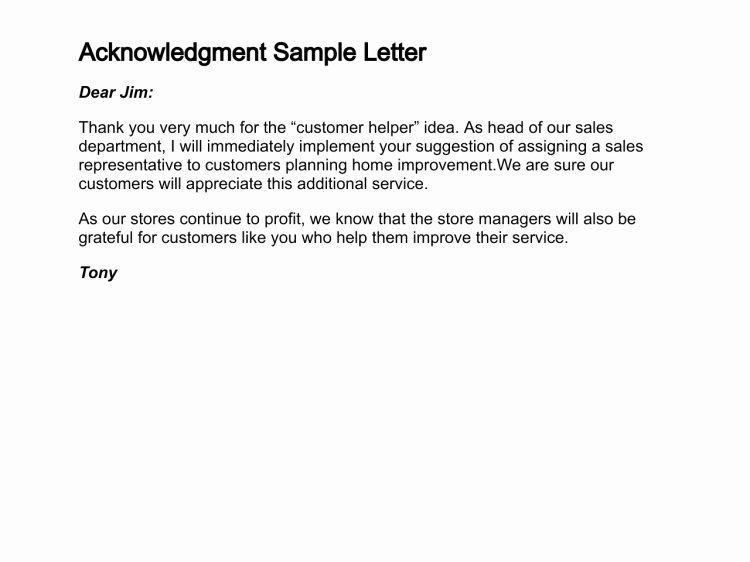 31 Acknowledgement Letter Templates Free Samples Examples