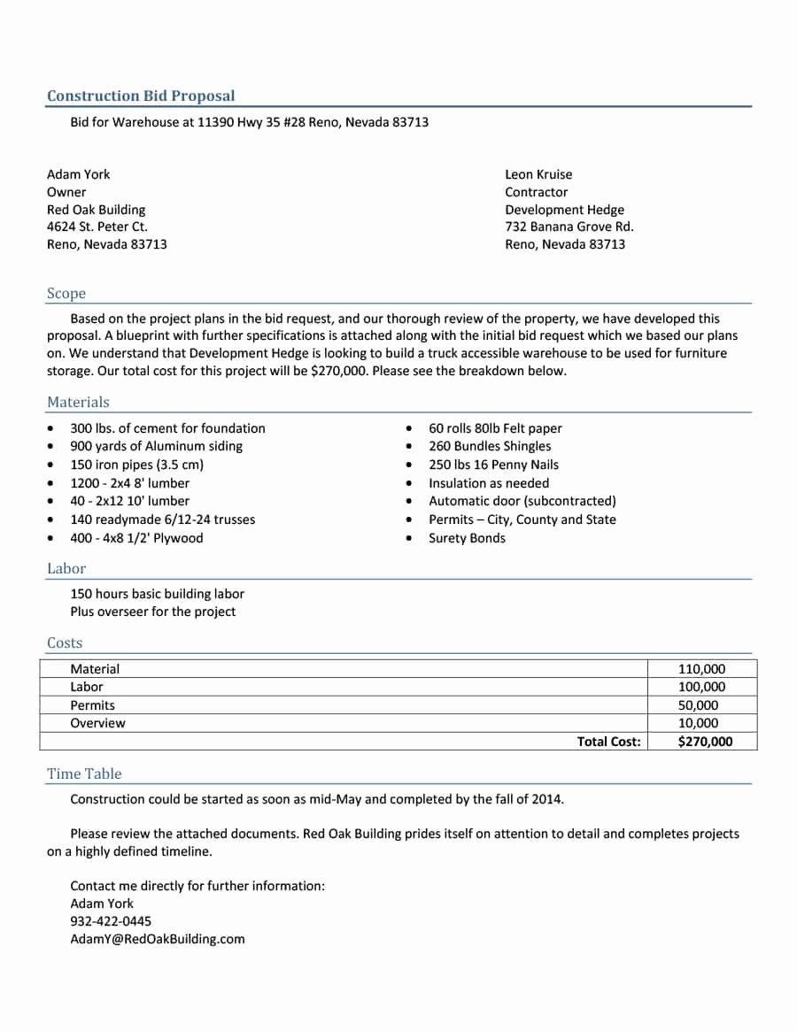 31 Construction Proposal Template & Construction Bid forms