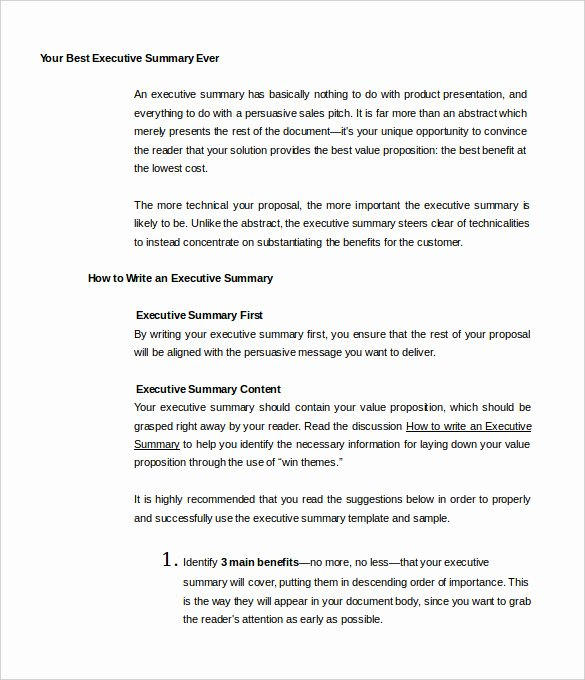 31 Executive Summary Templates Free Sample Example