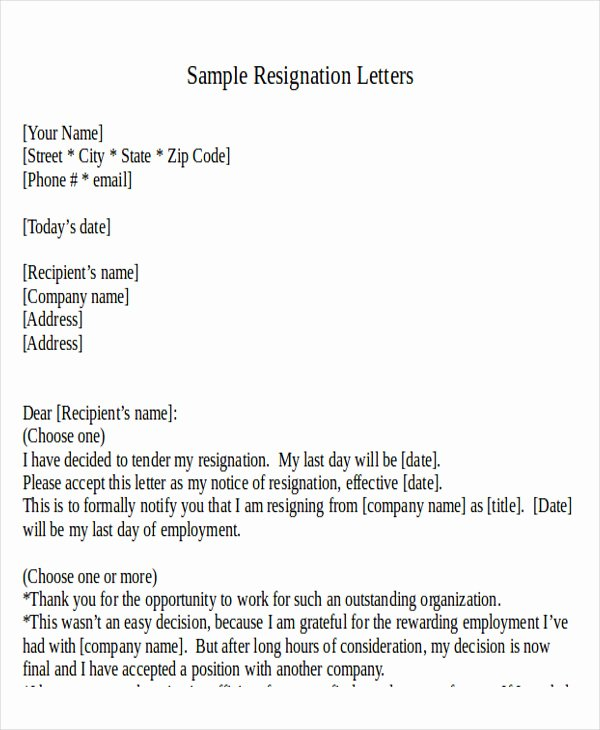31 Resignation Letter formats & Templates